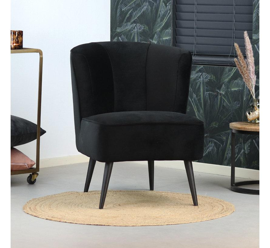 Samt Sessel Lyla modern schwarz