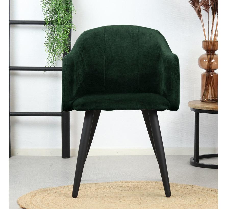 Esszimmerstuhl Samt Leroy mit Armlehne grün