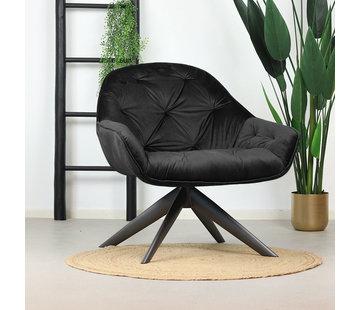 Eleonora Samt Sessel Mila mit Armlehnen schwarz