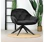 Samt Sessel Mila mit Armlehnen schwarz
