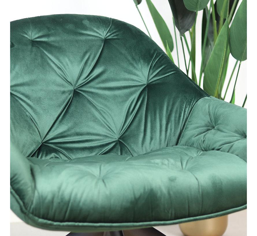 Samt Sessel Mila mit Armlehnen grün