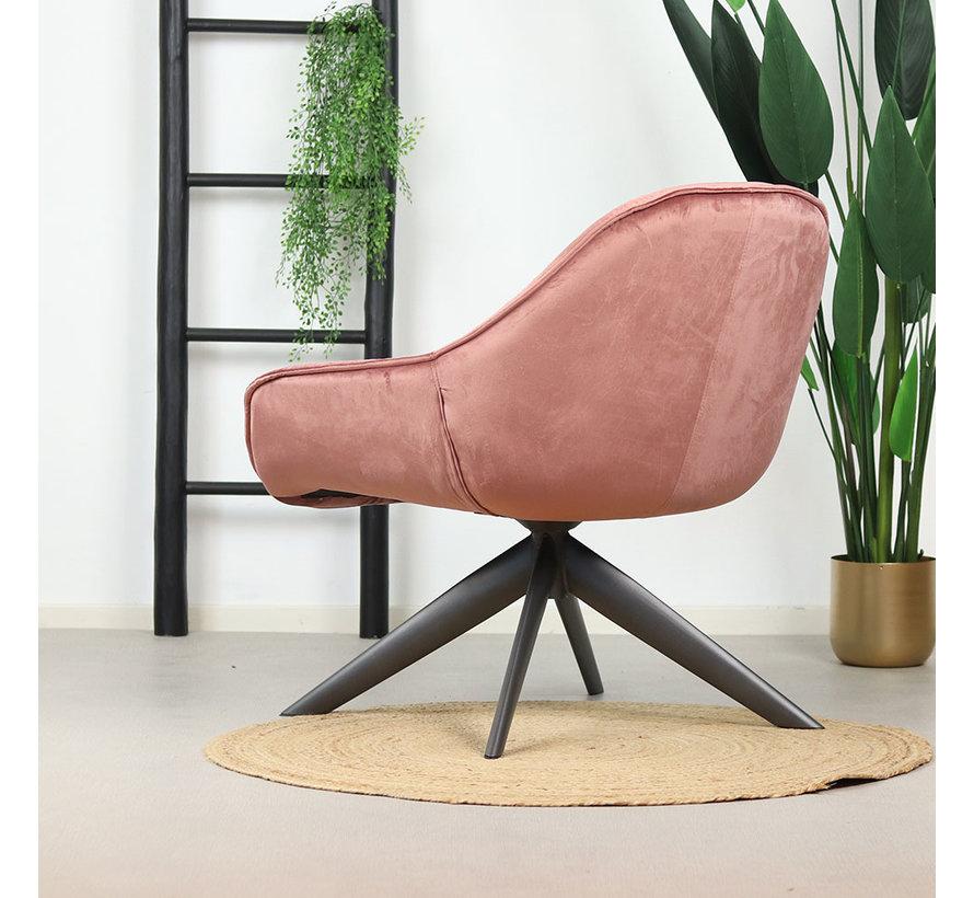 Samt Sessel Mila mit Armlehnen rosa