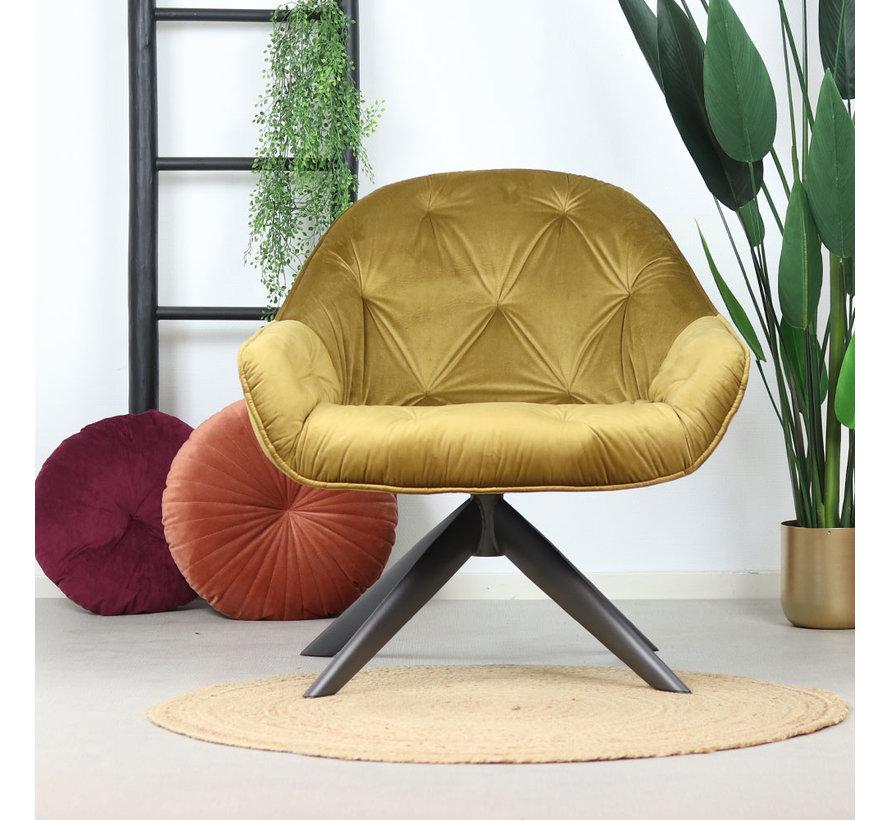 Samt Sessel Mila mit Armlehnen ockergelb