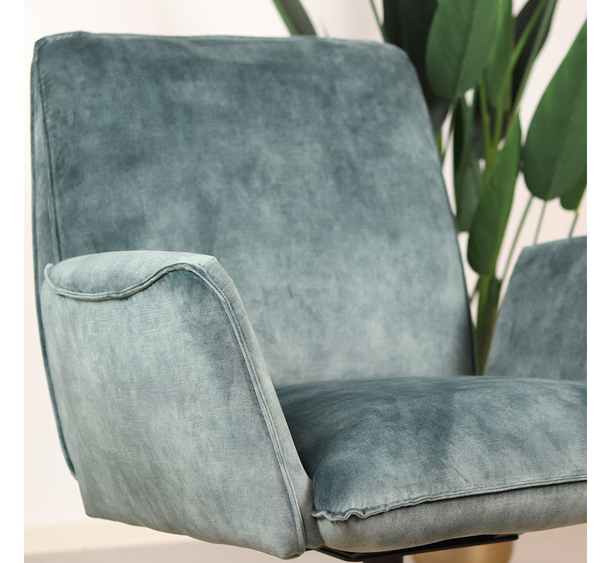 Samt Sessel Ava drehbar mit Armlehne blau