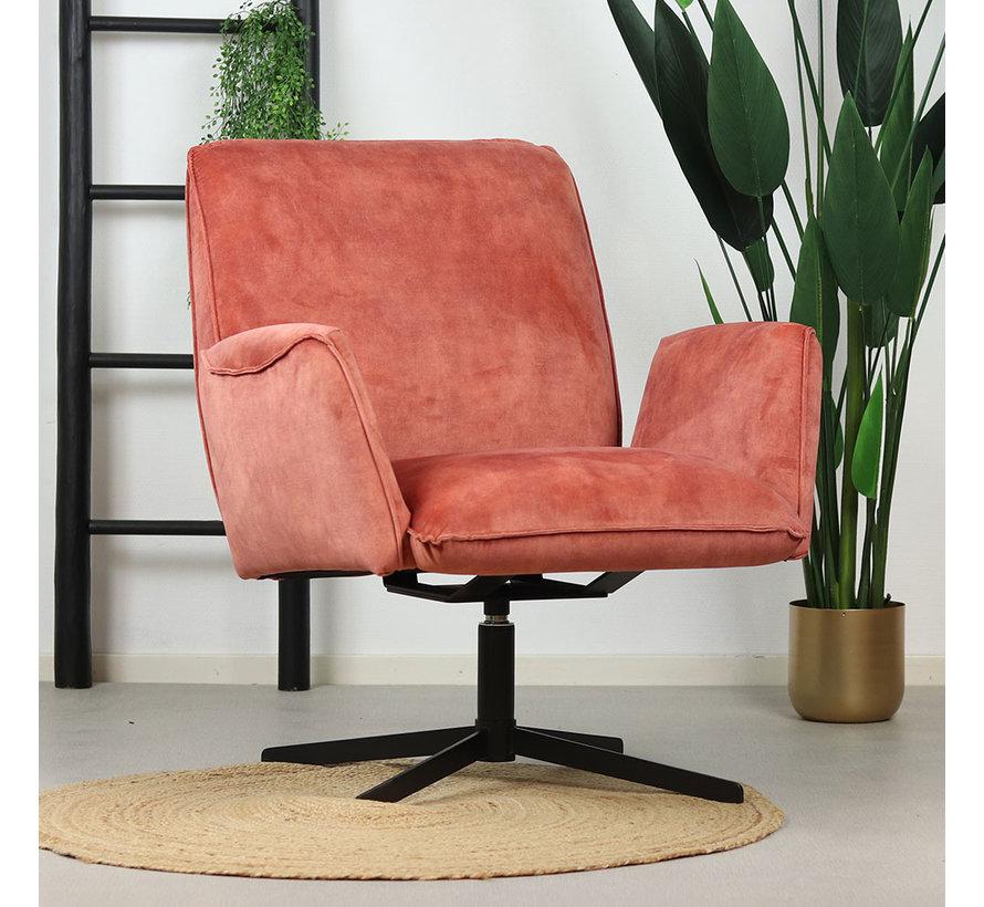 Samt Sessel Ava drehbar mit Armlehne rosa