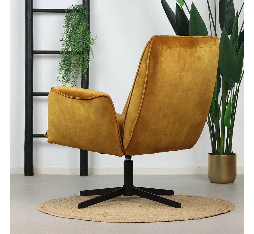 Samt Sessel Ava drehbar mit Armlehne ockergelb