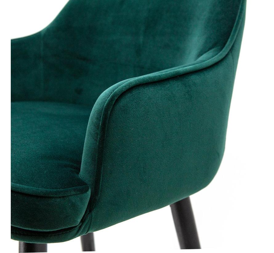 Barhocker Samt Norah mit Armlehne grün 65 cm
