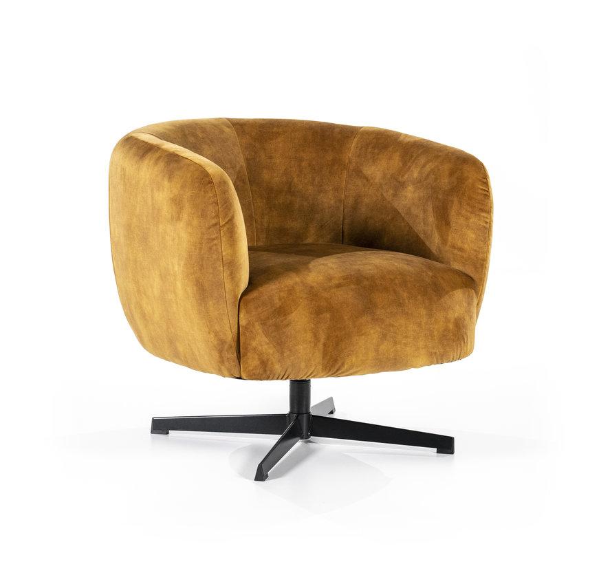 Samt Sessel Tori drehbar mit Armlehnen ockergelb