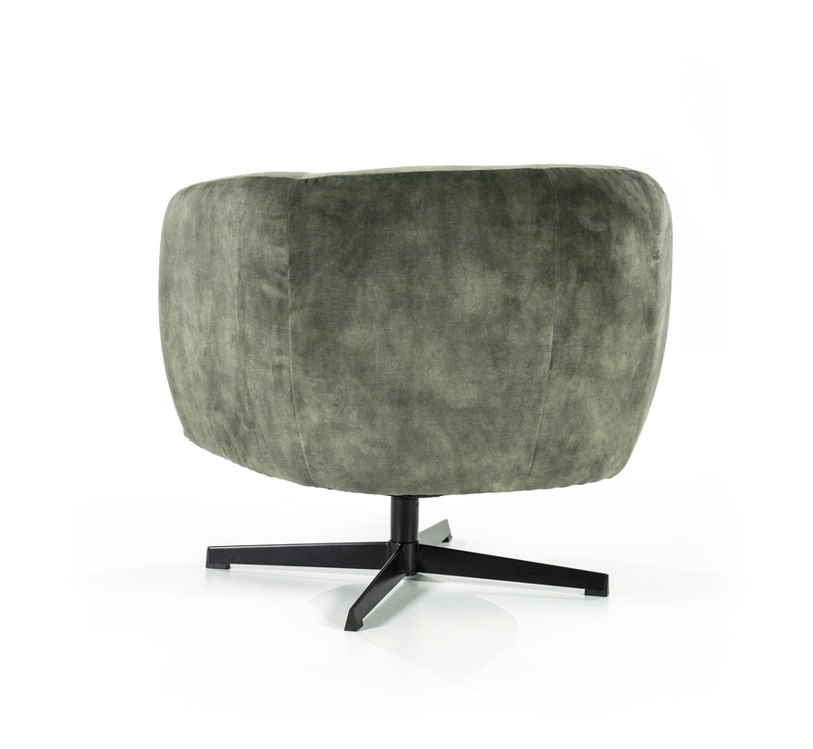 Samt Sessel Tori drehbar mit Armlehnen grün