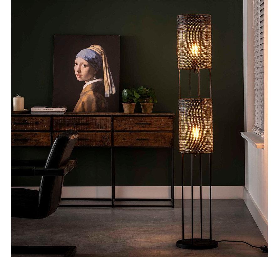 Stehlampe Lyda 2-flammig Schwarz-Braun