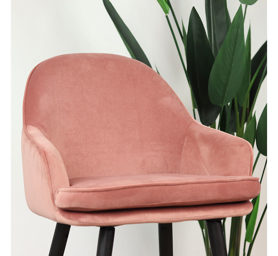 Barhocker Samt Norah mit Armlehne rosa 65 cm