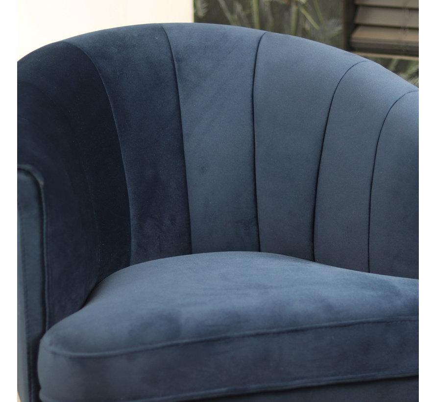 Samt Sessel Amy modern dunkelblau