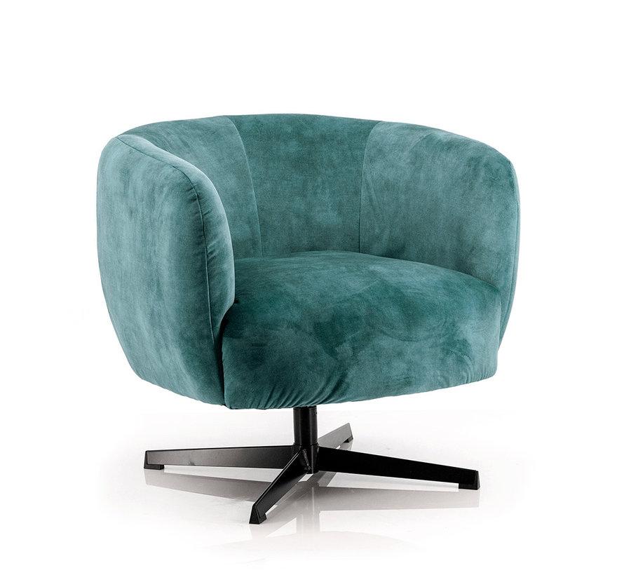 Samt Sessel Tori drehbar mit Armlehnen blau