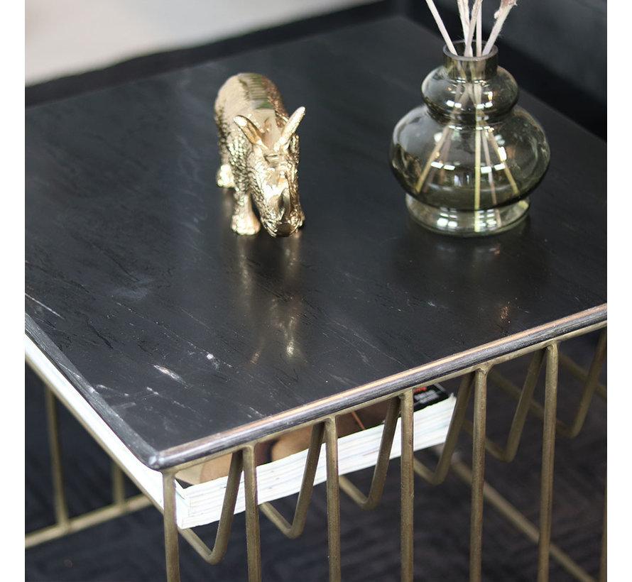 Couchtisch Marmor Julius schwarz 50 x 50 cm