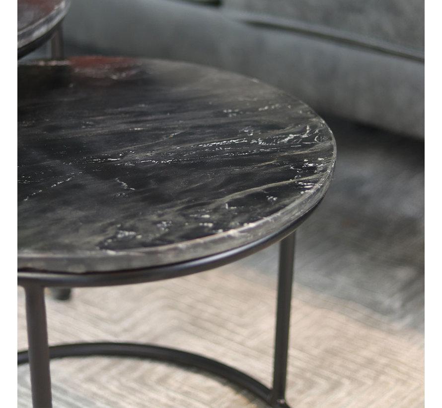 Couchtisch Marmor Eline rund schwarz (2er Set)