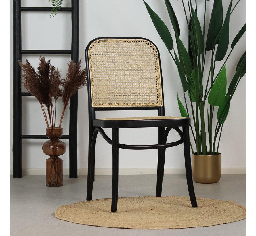 Esszimmerstuhl Retro Bambus beige/schwarz