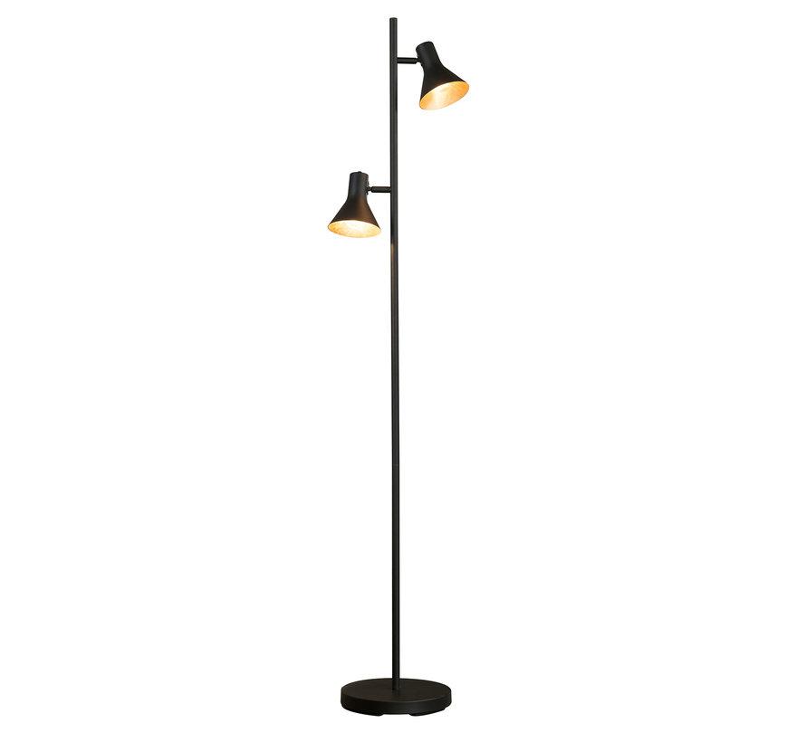 Stehlampe James 2-flammig schwarz/gold