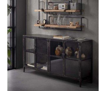Sideboard Suri Industrial Design Metall/Glas schwarz