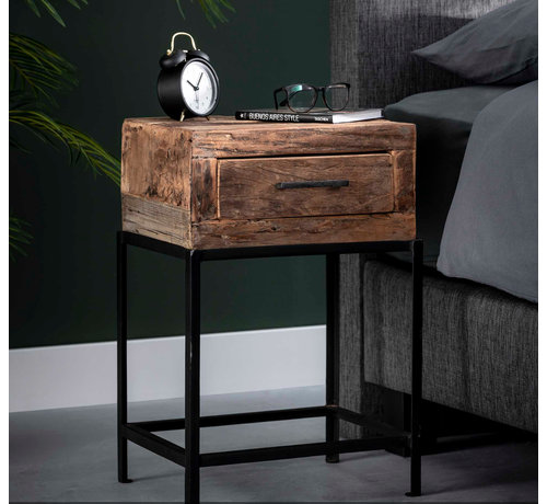 Nachtschrank Rense 1 Schublade Holz/Metall