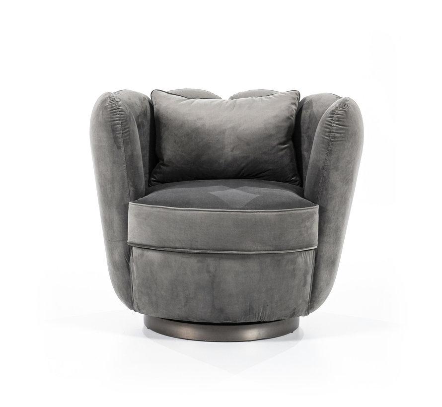 Samt Sessel Maria drehbar grau