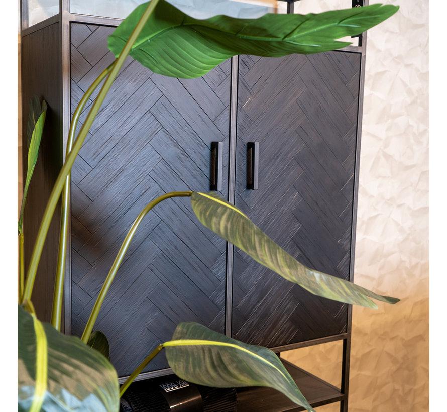 Wandschrank Hudson Akazienholz schwarz 2-türig