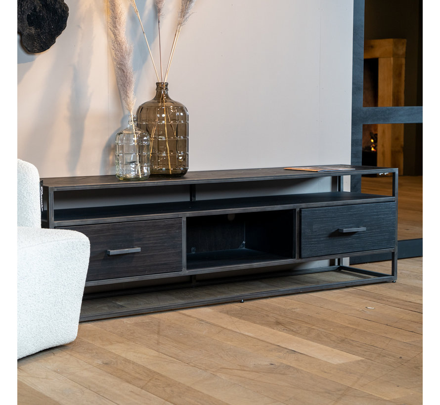 TV-Lowboard Hudson Akazienholz schwarz 185 cm