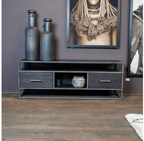 Eleonora TV-Lowboard Hudson Akazienholz schwarz 150 cm