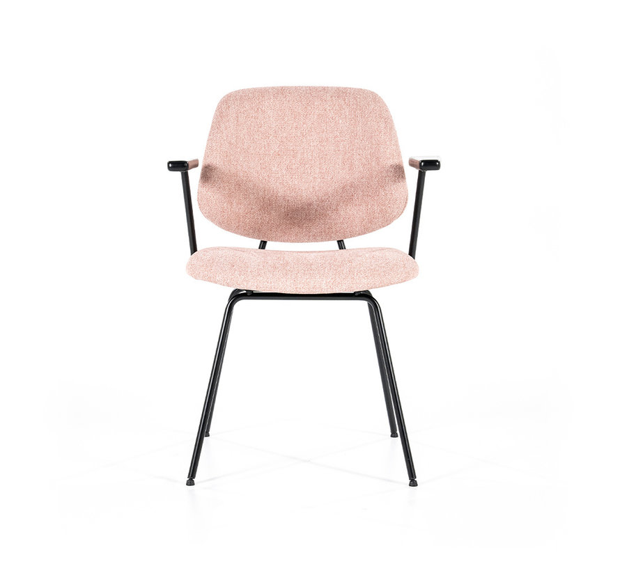 Bouclé Esszimmerstuhl Gera mit Armlehne rosa