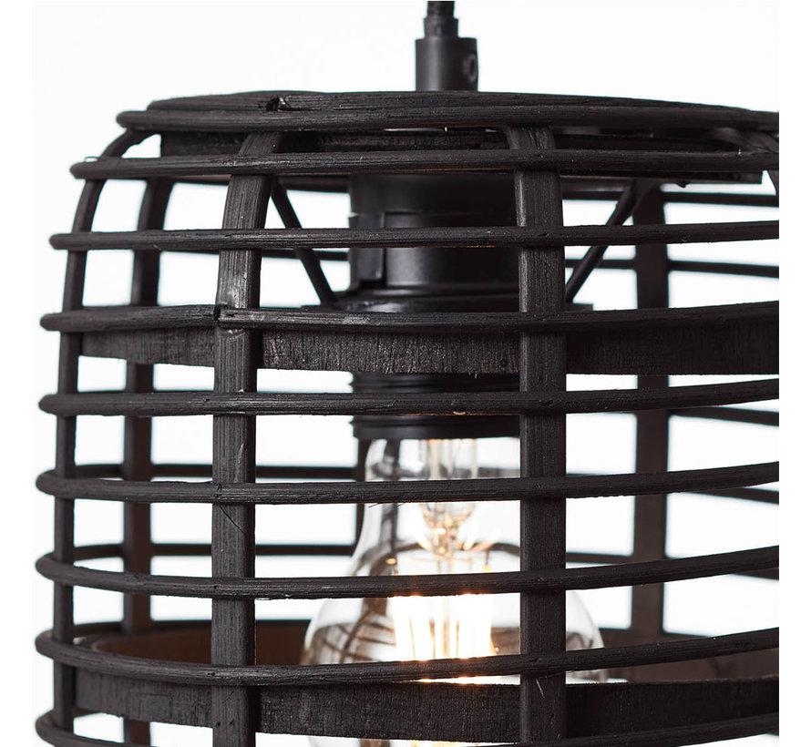 Hängelampe Pablo 4-flammig Bambus schwarz