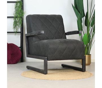 Bronx71 Sessel Microfaser Lucky Industrial Design schwarz