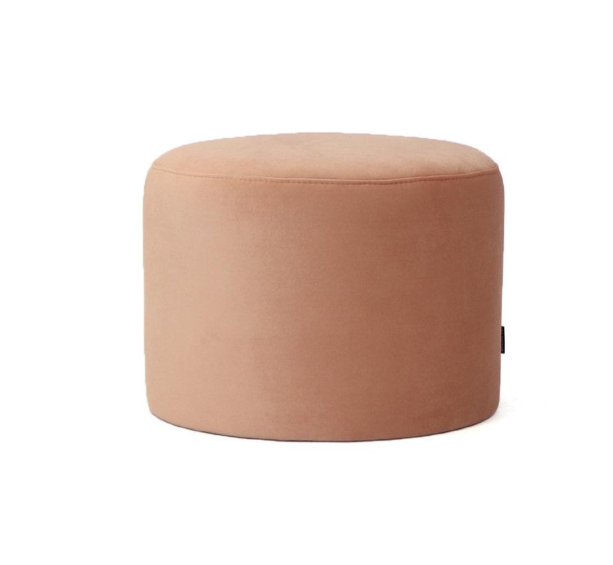 Samt Hocker Anna rund rosa