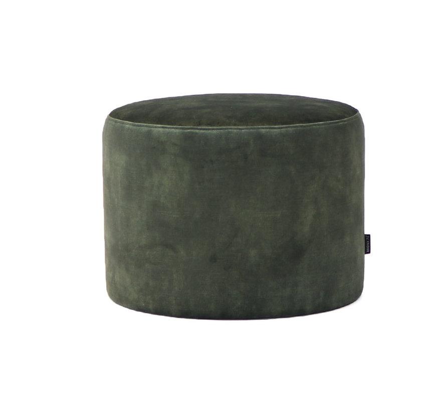 Samt Hocker Beau rund grün