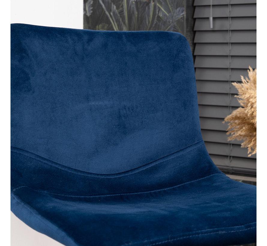Barhocker Samt Frenkie 59 - 76 cm blau