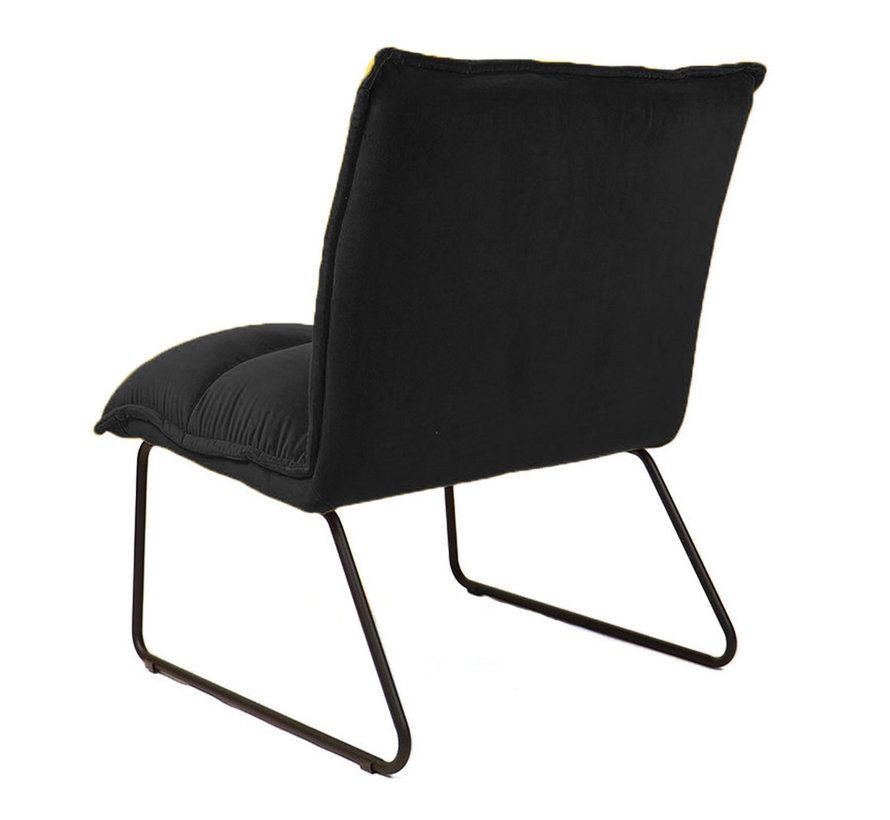 Samt Sessel Malaga modern schwarz