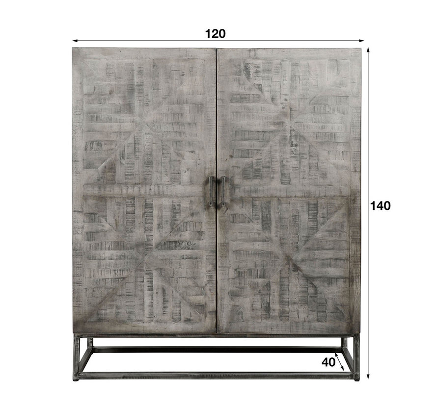 Highboard Figo grau Mangoholz 140 x 120 cm