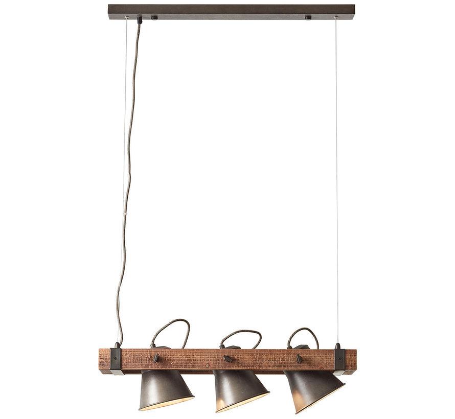 Hängelampe Lowen 3-flammig schwarz Stahl/Holz