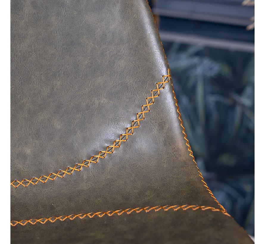 Barhocker Leder Luke olivgrün 67 cm