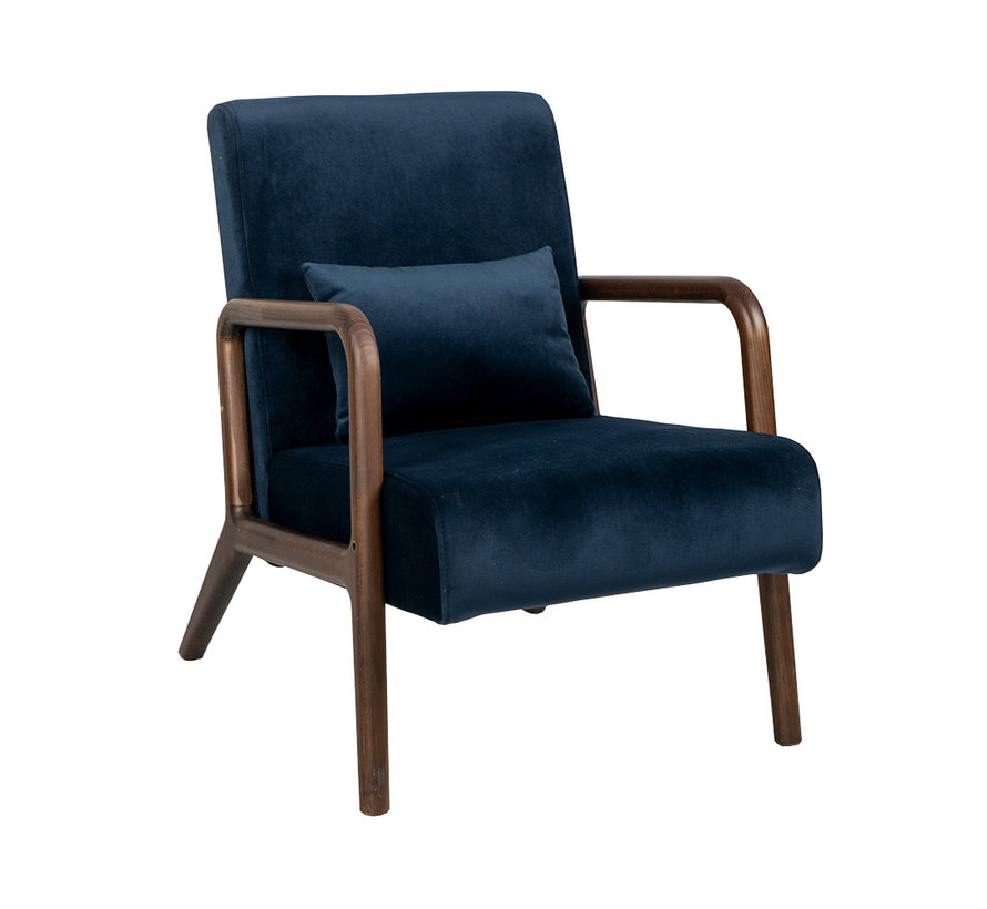 Samt Sessel Bibi mit Armlehne blau
