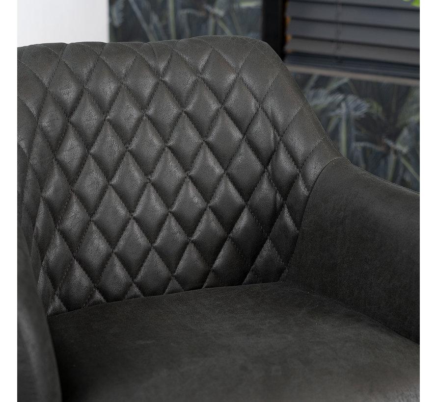 Esszimmerstuhl Leder Dex 180° drehbar Schwarz