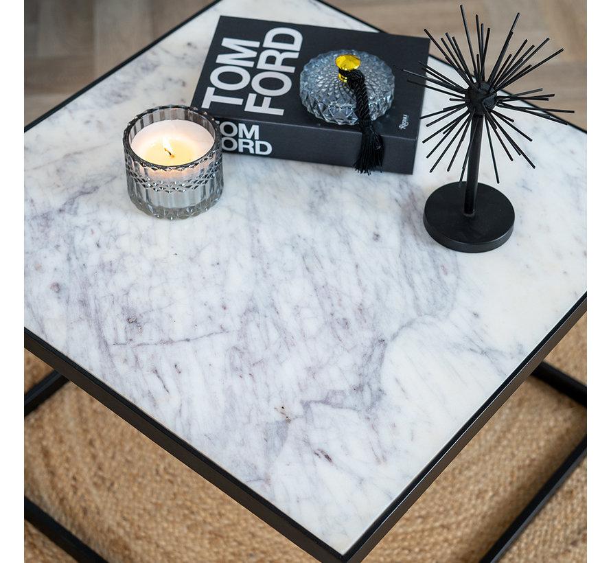 Couchtisch Max Marmor 54 x 54 cm weiß