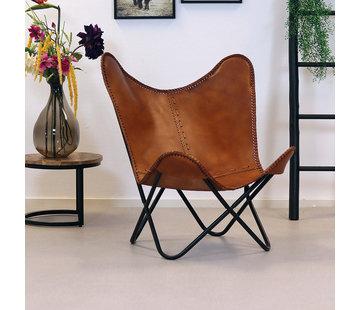 Bronx71 Butterfly Chair Leder Livin cognac