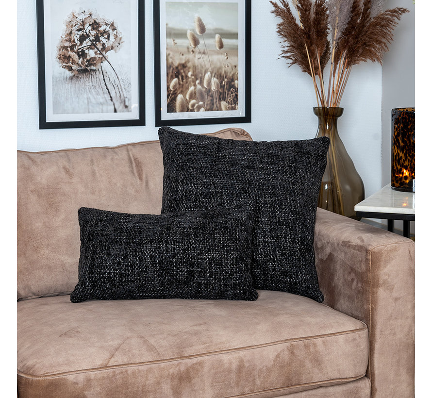 Kissen Feline Chenille Stoff schwarz 25x45 cm