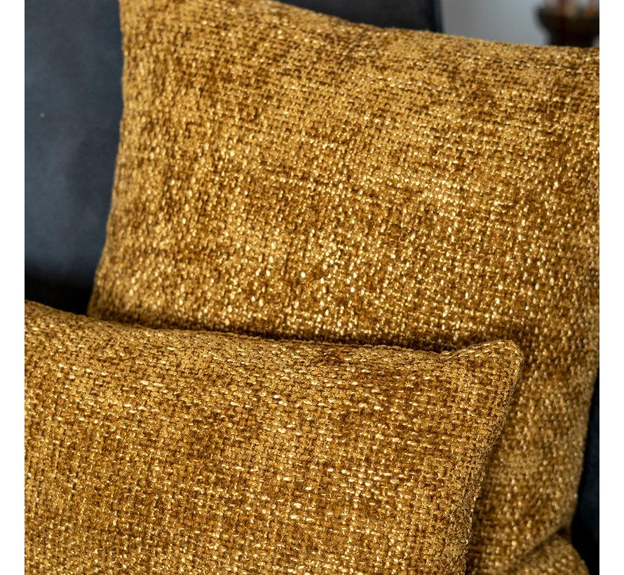 Kissen Feline Chenille Stoff ockergelb/cognac 45x45 cm