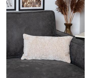Bronx71 Kissen Juna Chenille Stoff weiß 25x45 cm