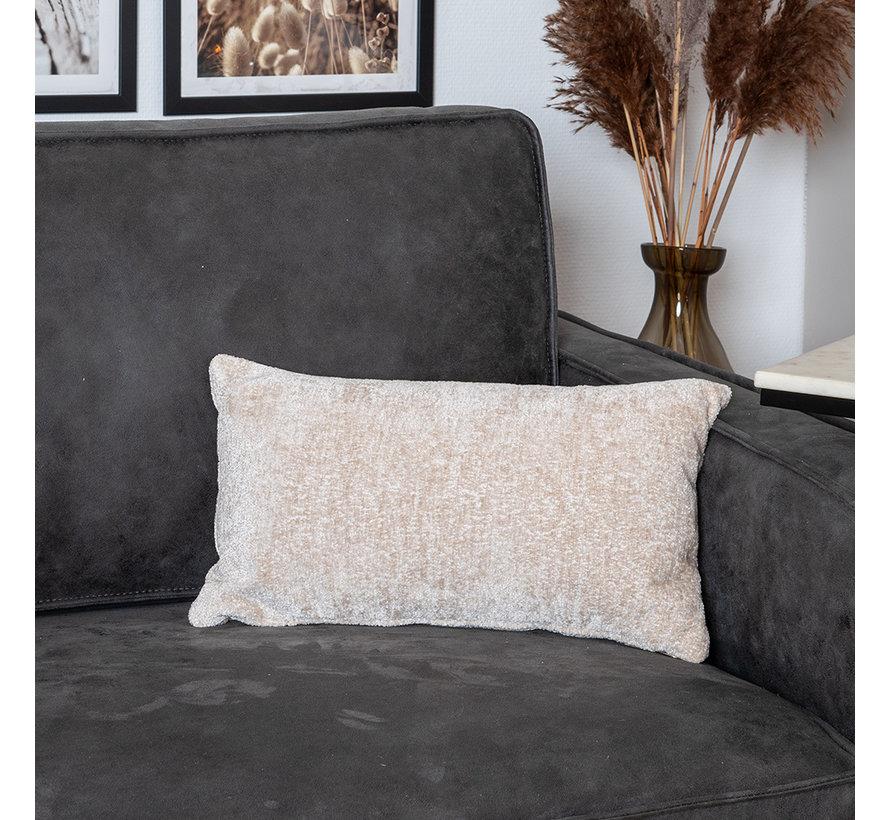 Kissen Juna Chenille Stoff weiß 25x45 cm