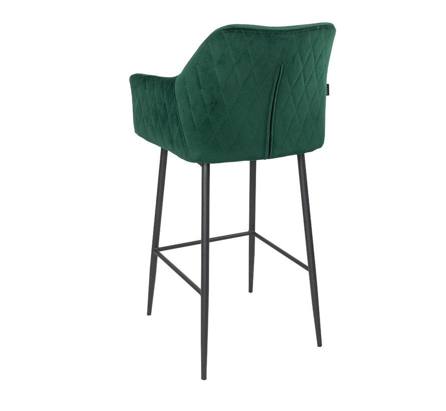 Barhocker Samt Nelly mit Armlehne grün 78cm