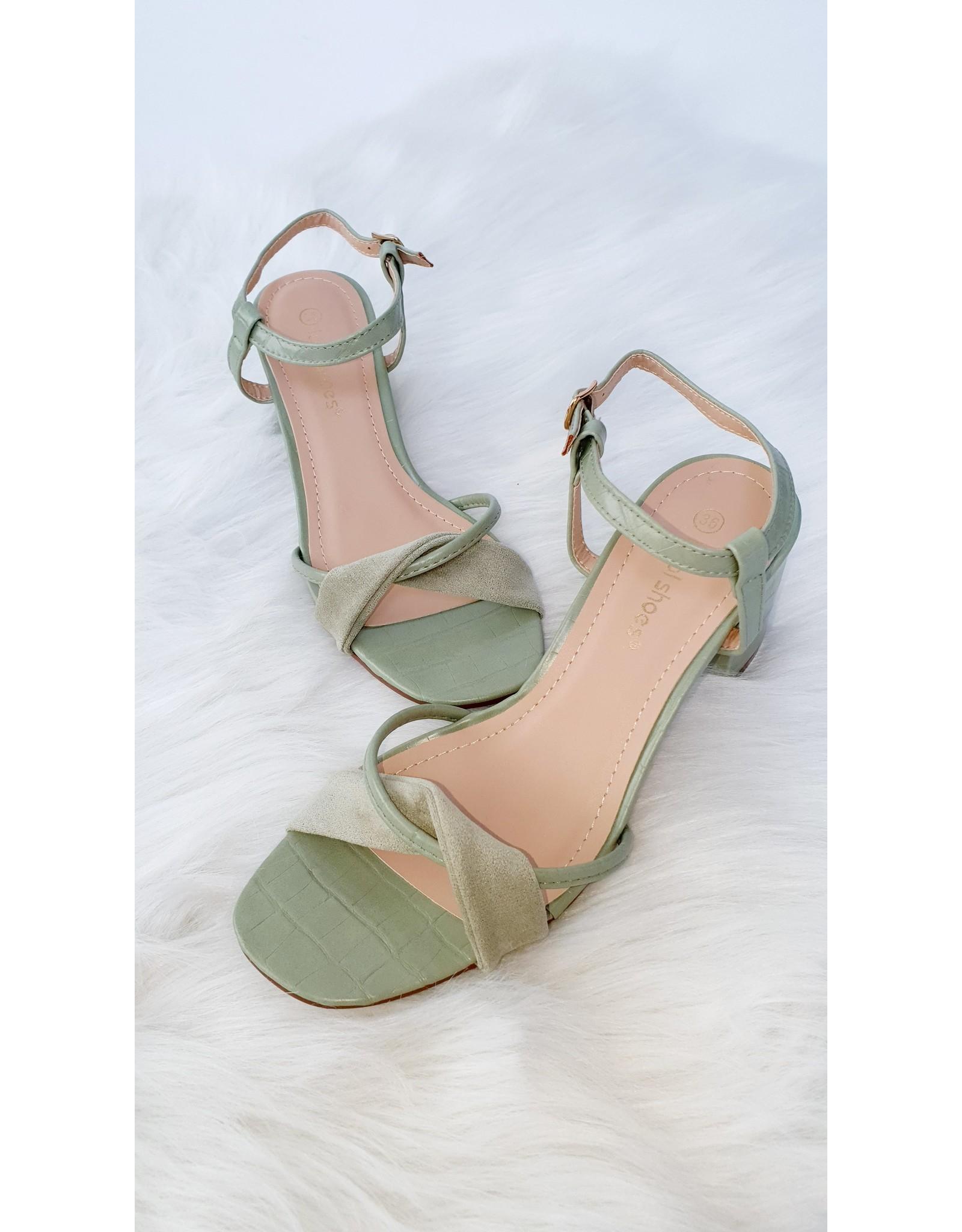 Minty croco heels
