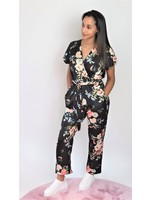 Flower satin jumpsuit