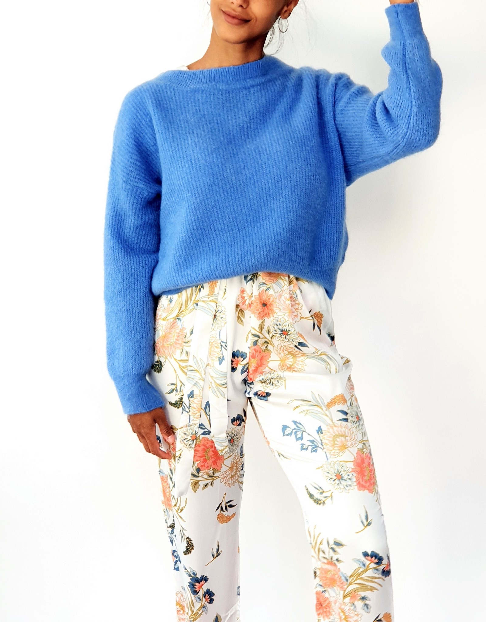 Flower light satin jumpsuit