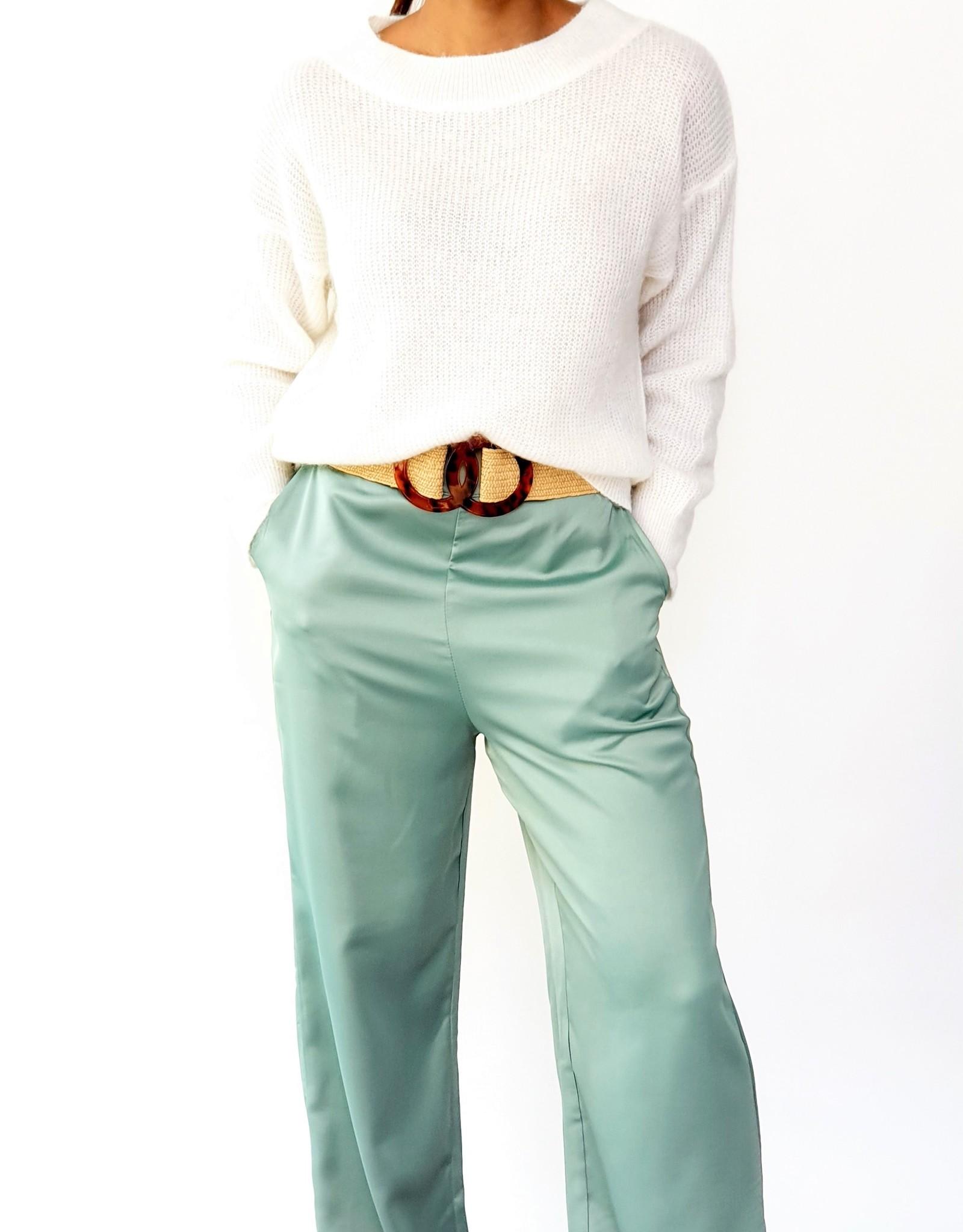 Satin green broek